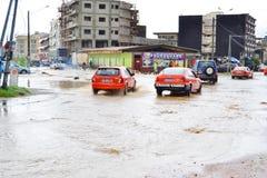 Dyluwialni deszcze: utożsamiać ryzyko strefy w Abidjan Zdjęcia Royalty Free