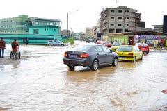 Dyluwialni deszcze: utożsamiać ryzyko strefy w Abidjan Zdjęcie Royalty Free