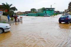 Dyluwialni deszcze: utożsamiać ryzyko strefy w Abidjan Fotografia Stock