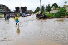 Dyluwialni deszcze: utożsamiać ryzyko strefy w Abidjan Obraz Royalty Free