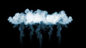Dym leje się w zwolnionym tempie Mnóstwo dymów przepływy Odizolowywający na czarnym tle z backlit i gotowym dla compositing zbiory