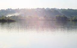 Dym na rzece Fotografia Royalty Free