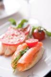 dymiąca łososiowa kanapka Obraz Royalty Free