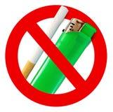 Dymić zabraniającego znaka z papierosem i zapalniczką obrazy stock