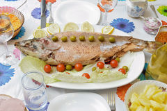 Dymi leczącego łososia z oliwkami, czereśniowymi pomidorami i cytryną na wh, Fotografia Stock