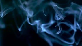 Dymi wolno unosić się przez przestrzeni przeciw czarnemu tłu 240 fps zwolnione tempo zbiory