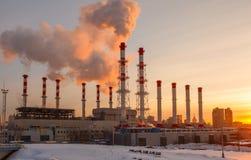 Dymienie drymby termiczna elektrownia Zdjęcia Stock