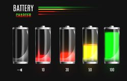Dymisjonowana i w pełni ładować bateria Ładuje proces Bateryjny ładunku status Różni stany ładować Odizolowywający dalej ilustracja wektor