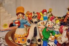Dymkovo toy is one of the Russian folk clay art crafts. This is one of the oldest crafts in Russia. Which arose in the XV-XVI centuries. With selective focus stock photos