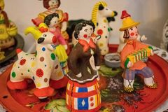 Dymkovo toy is one of the Russian folk clay art crafts. This is one of the oldest crafts in Russia. Which arose in the XV-XVI centuries. With selective focus stock images