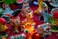 Dymkovo toy is one of the Russian folk clay art crafts. This is one of the oldest crafts in Russia. Which arose in the XV-XVI centuries. With selective focus royalty free stock photography