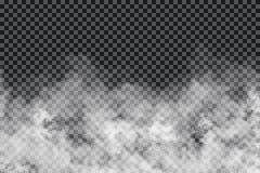 Dymne chmury na przejrzystym tle Realistyczna mgły lub mgły tekstura odizolowywająca na tle Przejrzysty dymny skutek ilustracji