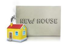 Dymny Emitować Od Wzorcowego domu kominu nowego domu plakatem Zdjęcie Royalty Free