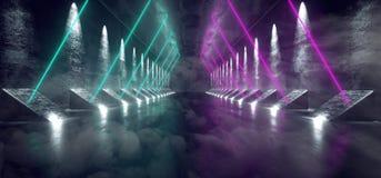 Dymny Mgłowy Ciemny fantastyka naukowa Astronautycznego statku Pusty Nowożytny Futurystyczny Tunelowy korytarz Z Grunge Odbijając ilustracji