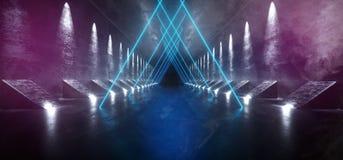 Dymny Mgłowy Ciemny fantastyka naukowa Astronautycznego statku Pusty Nowożytny Futurystyczny Tunelowy korytarz Z Grunge Odbijając ilustracja wektor