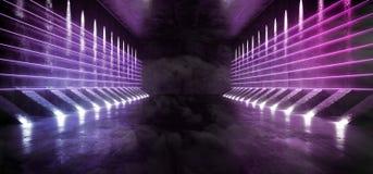 Dymny Mgłowy Ciemny fantastyka naukowa Astronautycznego statku Pusty Nowożytny Futurystyczny Tunelowy korytarz Z Grunge Odbijając royalty ilustracja