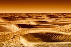 Dyn av den Sahara öknen på solnedgången Fotografering för Bildbyråer