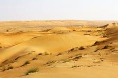 Dyn av Rubalen Khali eller tömmer fjärdedelen. Grensla Oman, Sau Arkivbild