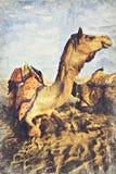 Dyn för kamelökensand, Indien Digital Art Impasto Oil Painting arkivbilder