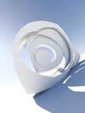 Dynamic 3d form. Abstract 3d eye shaped form isolated on white background Royalty Free Stock Photography