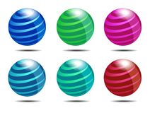 Dynamic Abstract Globe Icons Stock Photos