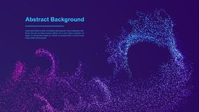 Dynamic abstract liquid flow particles background. Shining abstract particle flow background. Futuristic background with dots royalty free illustration