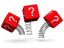 Dynamic and active question concept. Question mark cube box with spring 3d illustration Stock Images