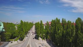 Dynamic aerial shot of the Siegestor in Munich. Aerial shot of the Siegestor on a sunny summer day stock video