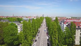 Dynamic aerial shot of the Siegestor in Munich. Aerial shot of the Siegestor on a sunny summer day stock video footage