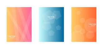 Dynamic background with gradient texture, geometric pattern with polygon, lines, circles. Three template for flyers. Abstract wallpaper for business brochure stock illustration