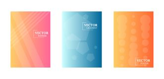 Dynamic background with gradient texture, geometric pattern with polygon, lines, circles. Three template for flyers. Abstract wallpaper for business brochure royalty free illustration
