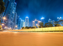 Dynamic background of modern city at night Royalty Free Stock Photo