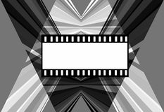 Dynamic background theme cinema. Black and white design with frame for photo and text Stock Photo