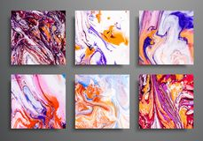 Dynamic backgrounds. trendy placards, commercial covers set. Marble colorful effect. Abstract page poster template for. Catalog, creative abstract brochure royalty free illustration