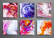 Dynamic backgrounds. trendy placards, commercial covers set. Marble colorful effect. Abstract page poster template for catalog, cr. Eative abstract brochure stock illustration