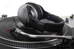 Dynamic bass headphones on turntable Stock Photo