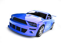 Dynamic blue sports car Stock Photos