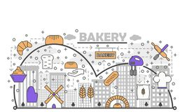 Dynamic Bread Baking Process with Line Art Flat Vector Icons. Dynamic bread baking process with line art flat icons. Bakery creative concept in urban environment stock illustration