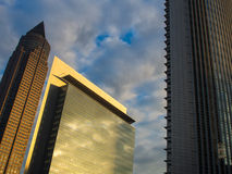 Dynamic business buildings with Trade Fair Tower in  Frankfurt, Stock Photo