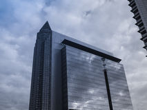 Dynamic business buildings with Trade Fair Tower in  Frankfurt, Stock Photos