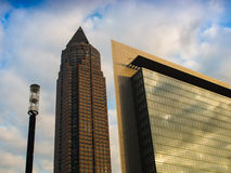 Dynamic business buildings with Trade Fair Tower in  Frankfurt, Royalty Free Stock Images