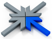 Dynamic business logo. A dynamic business logo in 3d merging arrows with one blue showing special impact in a market based on cooperation and partnership Stock Photo