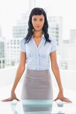 Dynamic businesswoman standing at her desk Royalty Free Stock Photos