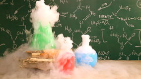 Dynamic chemical reaction in laboratory in school stock footage