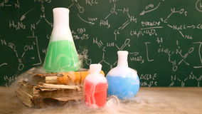 Dynamic chemical reaction in the school laboratory stock video