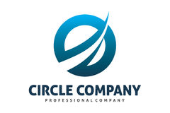Dynamic circle logo. Logo design of a circle with dynamic cross line Royalty Free Stock Images