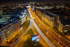 Dynamic city life in dark night. Prague from beauty bird perspective Stock Image