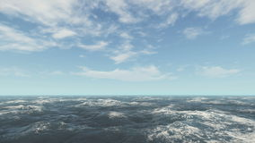 Dynamic clouds over ocean surface. Time lapse stock footage