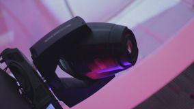 Dynamic club lighting (scanner) loopable programmed equipment. Turning lights. Stock footage stock footage