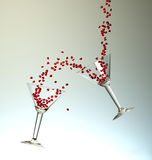 Dynamic Cocktails With Small Red Hearts Stock Photos
